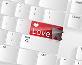 Computer keyboard - red key Love, close-up — Stock Vector