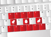 Happy Easter Keyboard Concept — Stok Vektör