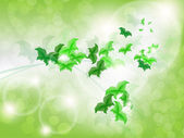Environmental Background with green leaf butterflies — Stock Vector