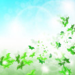 Stock Vector: Spring Background with leaf Butterflies