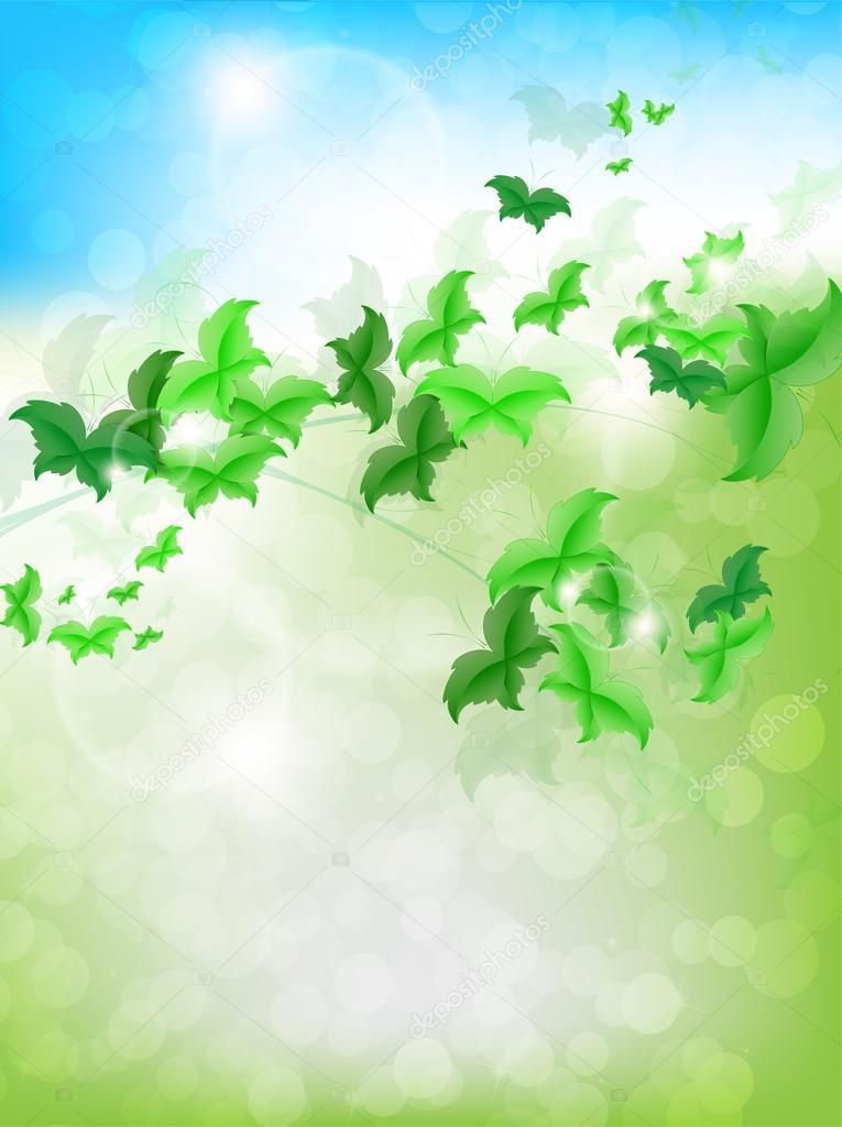 与新鲜背景上叶蝴蝶春天背景 — 矢量图片作者 maxmitzu