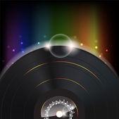 Hudební pozadí s záře vinylové desky — Stock vektor