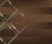 стеклянные панели с зеленый и красный неоновый свет над дерева справочная — Cтоковый вектор