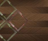 Panneaux en verre avec néon vert et rouge sur un fond de bois — Vecteur