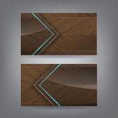древесины и неона стекла тема шаблон визитной карточки — Cтоковый вектор