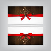 Holiday Banners with a red bow and wood. — Stock Vector