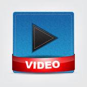 Blue Textile Video icon — Stock Vector
