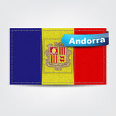 Fabric texture of the flag of Andorra — Stock Vector