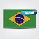 Fabric texture of the flag of Brazil — Stock Vector