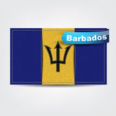 Fabric texture of the flag of Barbados — Stock Vector