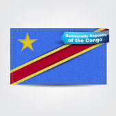 Fabric texture of the flag of Democratic Republic of the Congo — Stock Vector