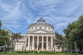 BUCHAREST, ROMANIA - MAY 09: The Romanian Athenaeum on May 09, 2013 in Bucharest, Romania. Opened in 1888 it is a concert hall in the center of Bucharest and a landmark of the Romanian capital city. — Foto de Stock