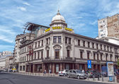 BUCHAREST, ROMANIA - MAY 09: Hotel Capsa facade on May 09, 2013 in Bucharest, Romania. Casa Capsa is a historic restaurant in Bucharest, Romania, first established in 1852. — Stock Photo