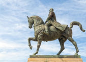 King Carol I on horse statue — Stock Photo