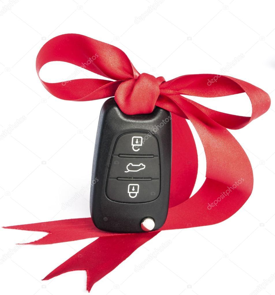 geschenk auto konzept mit roter schleife und platz f r. Black Bedroom Furniture Sets. Home Design Ideas