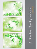 Green background set — Stock Vector