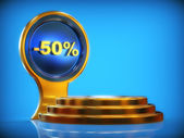 Discount pedestal -50% — Stock Photo