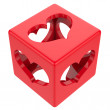Cube with hearts isolated on white background. — Stock Photo