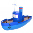 Abstract toy ship isolated on white background. 3d render. — Stock Photo