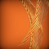 Abstract background with golden wavy twisted ribbons. — Stock Photo