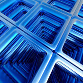 Abstract technology 3D background with blue metallic rectangles. — Photo