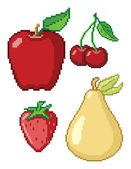8-Bit Fruit Icons — Stock Vector