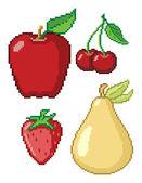 8-Bit Fruit Icons — Stock Vector
