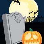 Halloween Tombstone and Jack' o Lantern — Stock Vector