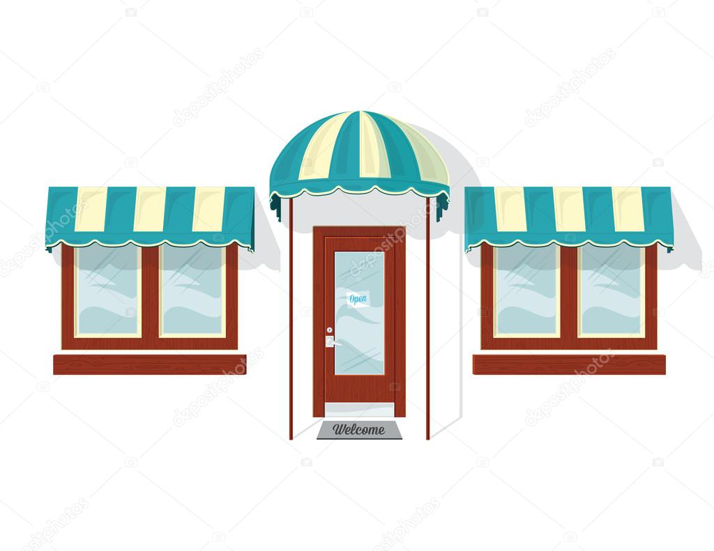 Store front door and windows stock vector jrmurray76 for Window design cartoon