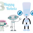 Three Happy Robots — Stock Photo