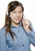 Kobieta operatora z zestawu słuchawkowego — Zdjęcie stockowe