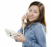 Smiling on the phone — Stock Photo