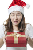 Showing gift box — Stock Photo