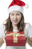 Showing gift box — Stock Photo