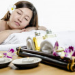 Relaying young adult at spa treatment — 图库照片