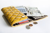 Women wallet and money — Stock Photo