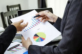 Discussing on business chart — Stock Photo