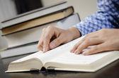 Reading text book — Stock Photo