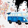 Retro van woman - love and peace — Stockvectorbeeld
