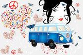 Retro van woman - love and peace — Stock Vector