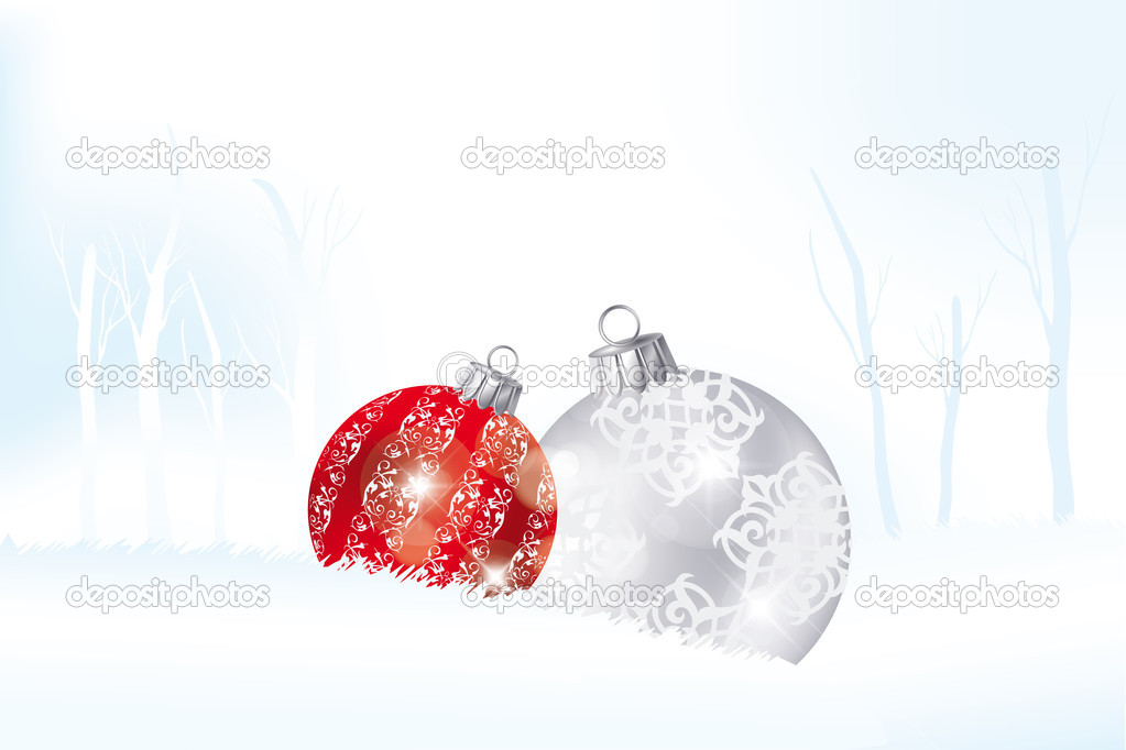 Red and silver Christmas balls in the snow landscape — Image vectorielle #13781338
