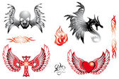 Retro tattoo design elements — Stock Vector