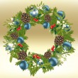 Royalty-Free Stock Vector Image: Decorated Christmas wreath on golden background
