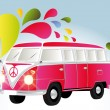 Colorful retro van with splashes — Stock Vector