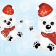 Cute polar bears in snow - Stock Vector
