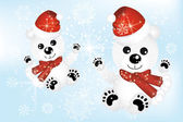 Cute polar bears in snow — Vector de stock