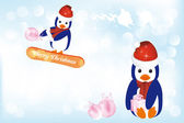 Penguins in snow at Christmas — Stock Vector