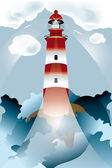 Lighthouse lights on over the unsteady sea — Stock Vector