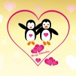 Valentine´s Day penguins — Stock Vector