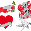 L'amour éternel - retro tattoo designs — Stock vektor